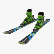 앨런 키즈 알파인 부츠 & 스키 3d model