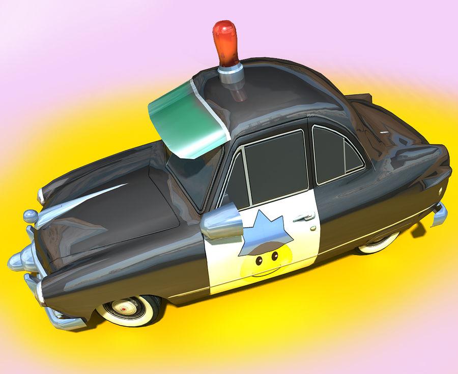 CARTOON Retro samochód policyjny royalty-free 3d model - Preview no. 13