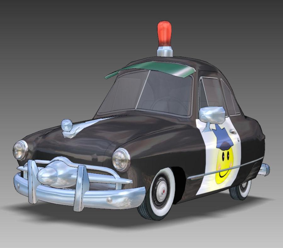 CARTOON Retro samochód policyjny royalty-free 3d model - Preview no. 14