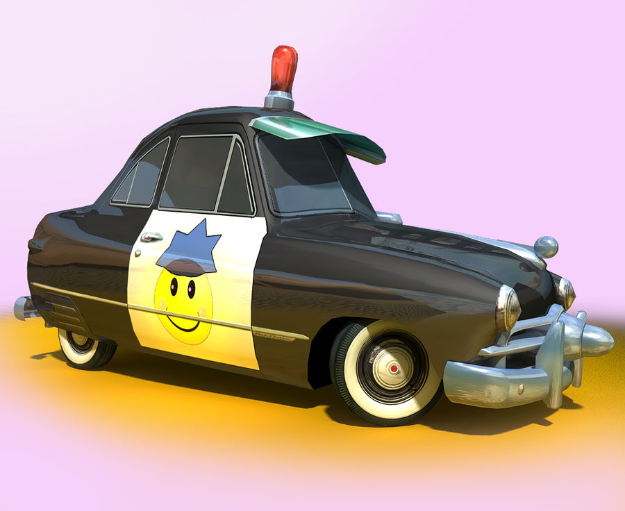 CARTOON Retro samochód policyjny royalty-free 3d model - Preview no. 6