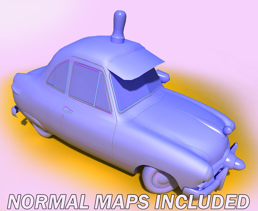CARTOON Retro samochód policyjny royalty-free 3d model - Preview no. 9