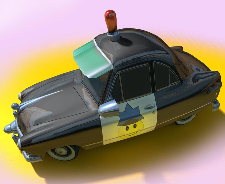 CARTOON Retro samochód policyjny royalty-free 3d model - Preview no. 12