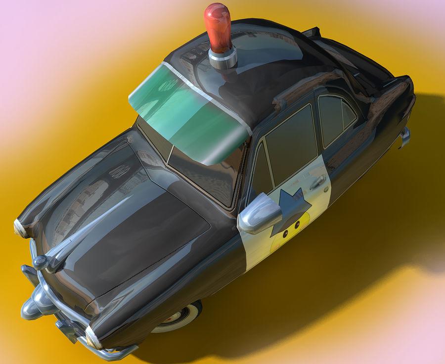 CARTOON Retro samochód policyjny royalty-free 3d model - Preview no. 4