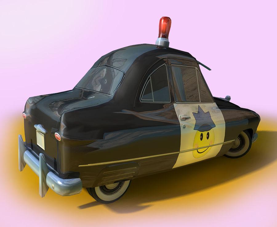 CARTOON Retro samochód policyjny royalty-free 3d model - Preview no. 5