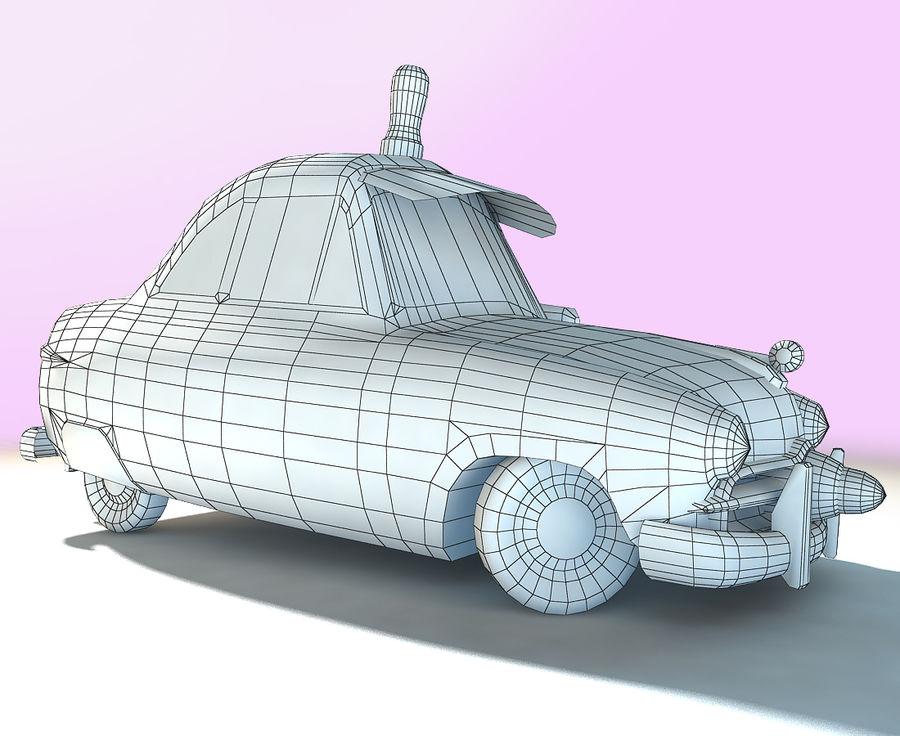CARTOON Retro samochód policyjny royalty-free 3d model - Preview no. 7