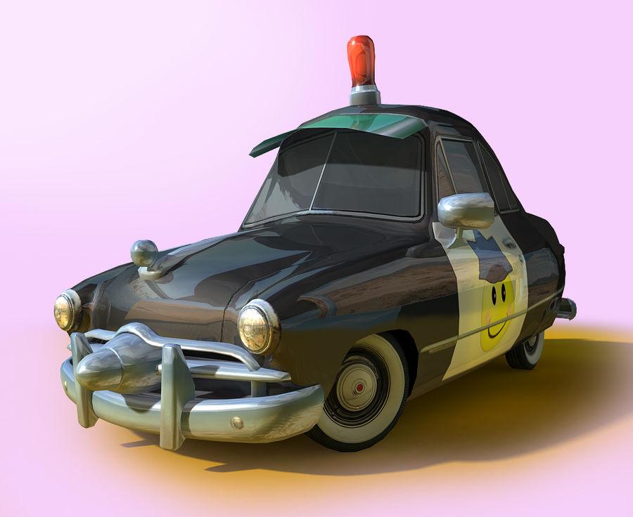 CARTOON Retro samochód policyjny royalty-free 3d model - Preview no. 2