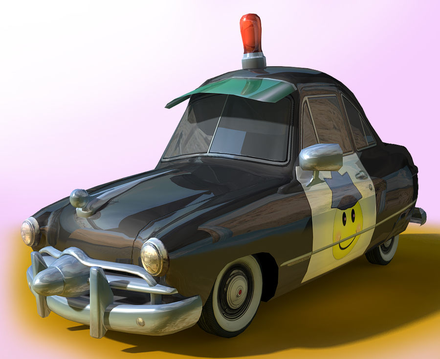 CARTOON Retro samochód policyjny royalty-free 3d model - Preview no. 11