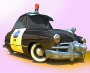CARTOON Retro samochód policyjny 3d model