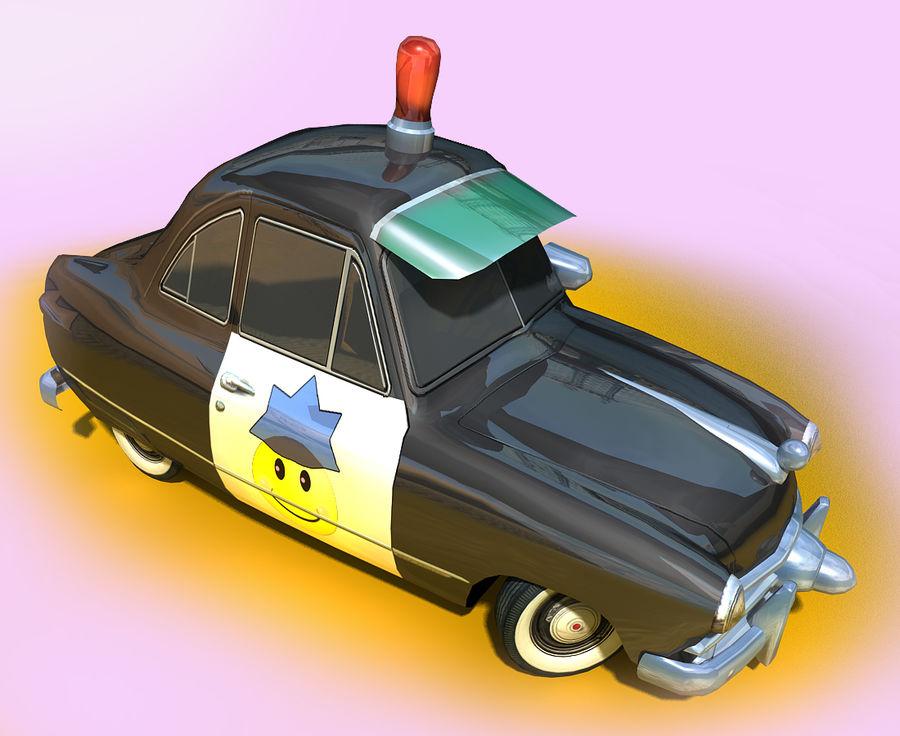 CARTOON Retro samochód policyjny royalty-free 3d model - Preview no. 8