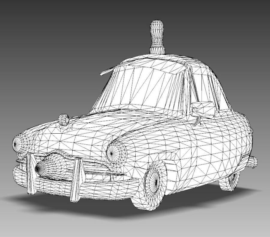 CARTOON Retro samochód policyjny royalty-free 3d model - Preview no. 15