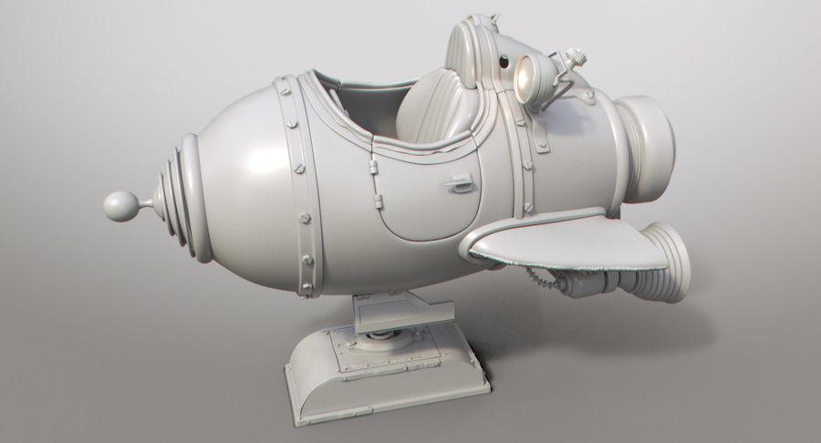 Retro Space Ship Fahrt royalty-free 3d model - Preview no. 4