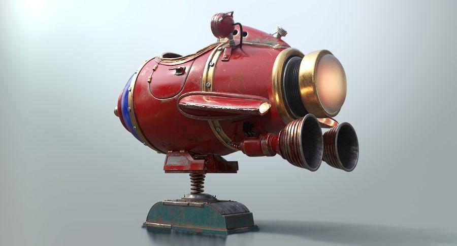 Retro Space Ship Fahrt royalty-free 3d model - Preview no. 12