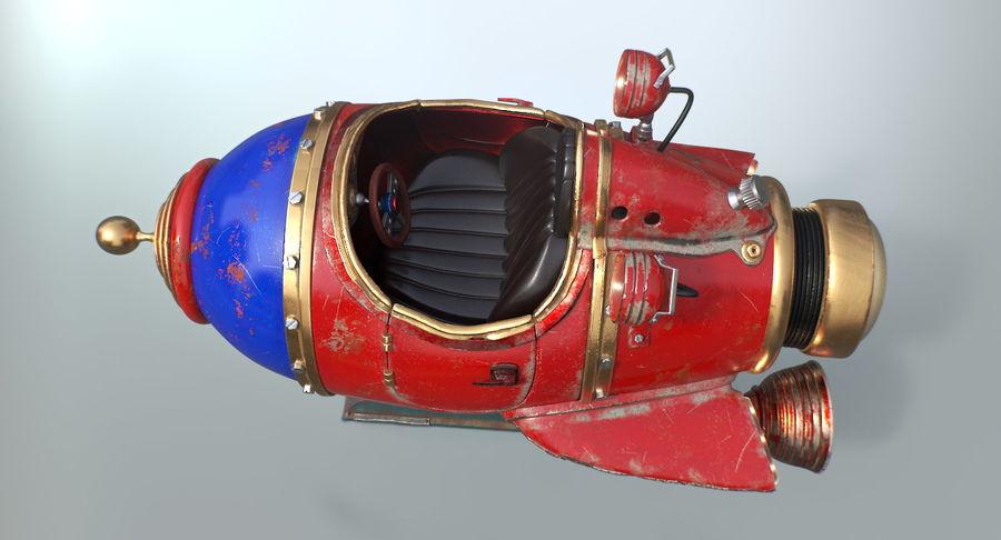Retro Space Ship Fahrt royalty-free 3d model - Preview no. 6