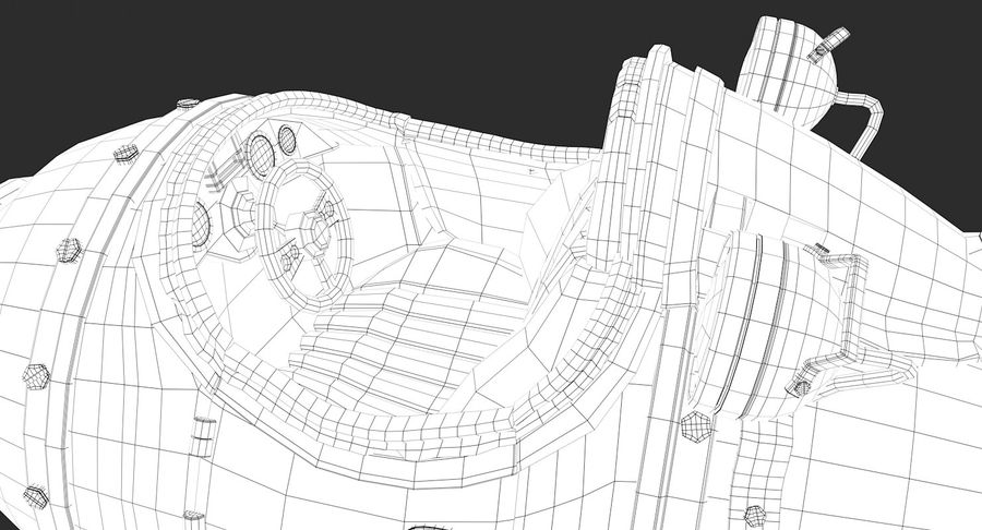 Retro Space Ship Fahrt royalty-free 3d model - Preview no. 20
