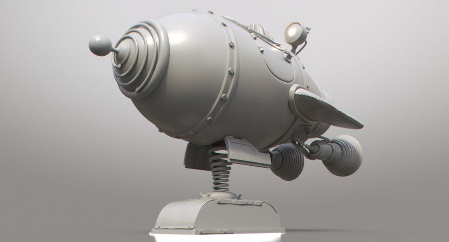 Retro Space Ship Fahrt royalty-free 3d model - Preview no. 16