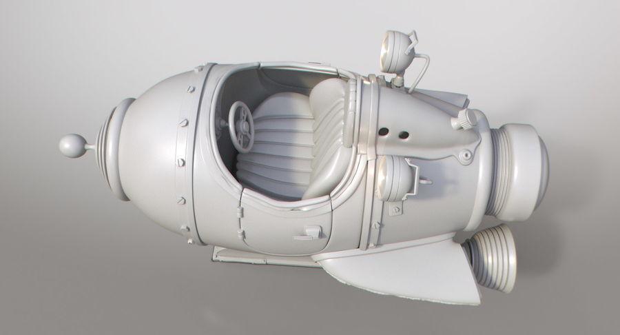 Retro Space Ship Fahrt royalty-free 3d model - Preview no. 7