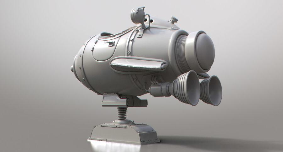 Retro Space Ship Fahrt royalty-free 3d model - Preview no. 13