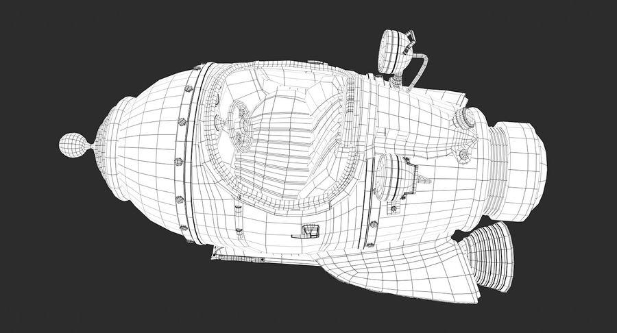 Retro Space Ship Fahrt royalty-free 3d model - Preview no. 8