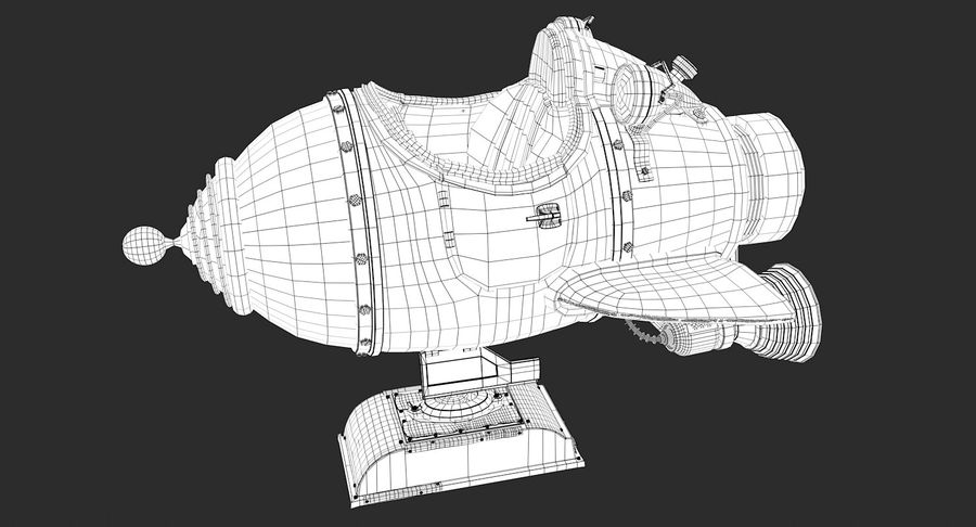 Retro Space Ship Fahrt royalty-free 3d model - Preview no. 5