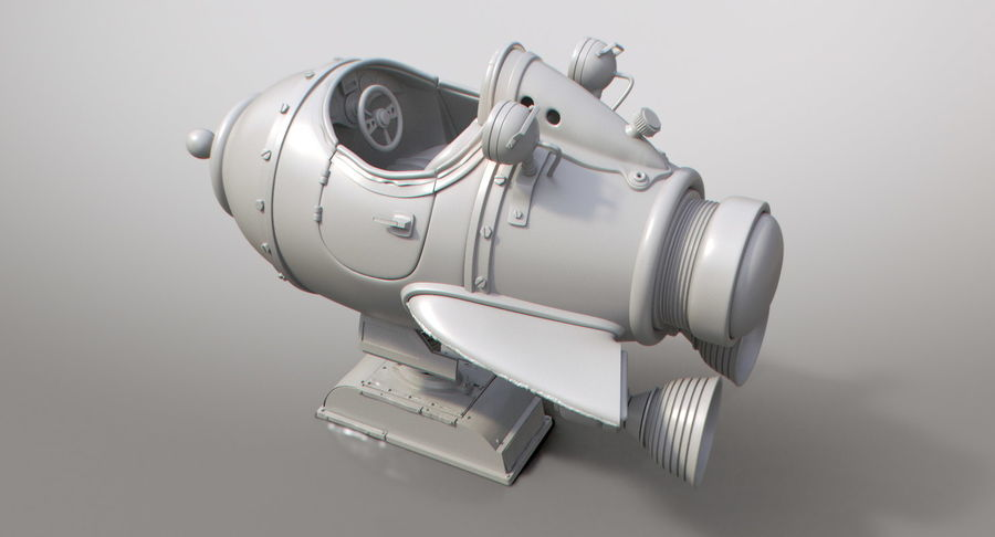 Retro Space Ship Fahrt royalty-free 3d model - Preview no. 10