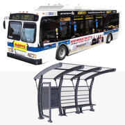 Bus and Bus Stop Collection 3d model