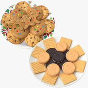 Biscuits And Cookies Plates 3d model