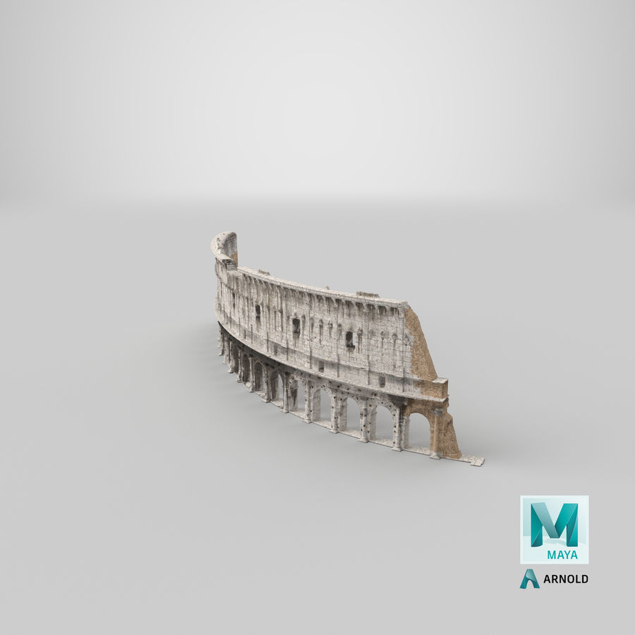 Ancient Wall with Arches 3D Model royalty-free 3d model - Preview no. 28
