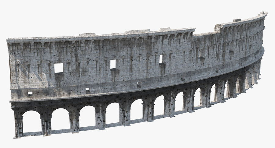 Ancient Wall with Arches 3D Model royalty-free 3d model - Preview no. 5