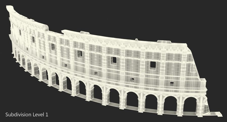Ancient Wall with Arches 3D Model royalty-free 3d model - Preview no. 12