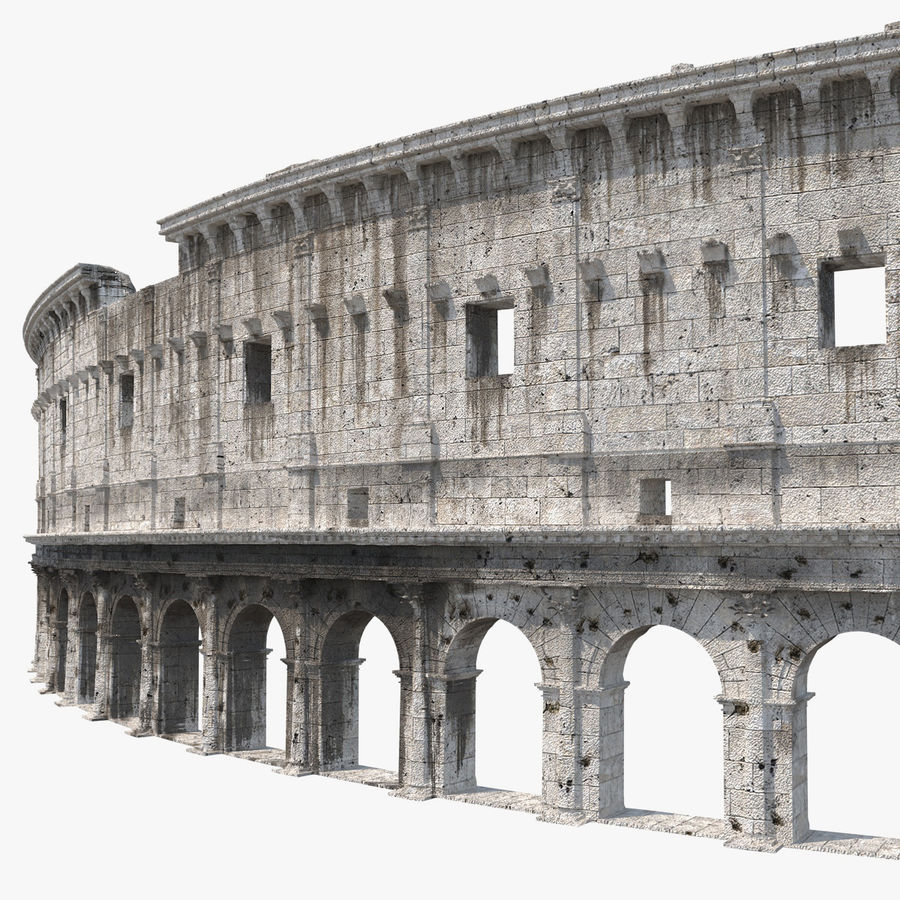 Ancient Wall with Arches 3D Model royalty-free 3d model - Preview no. 1