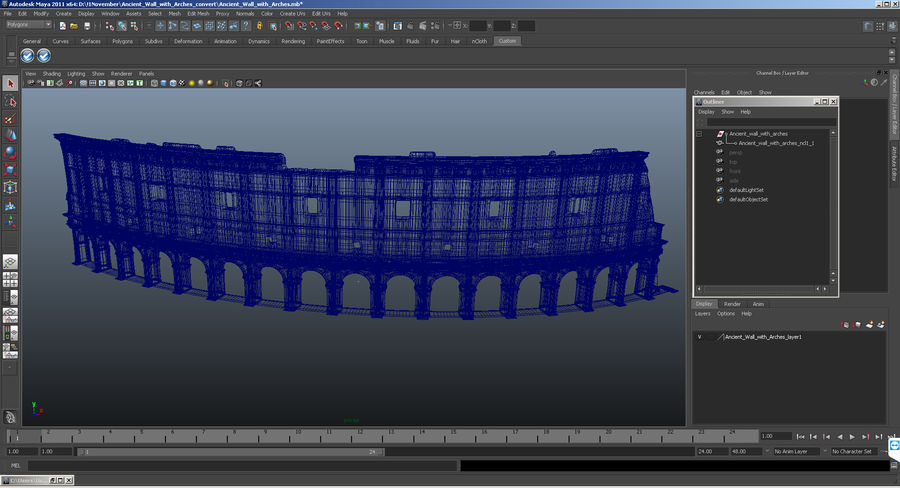 Ancient Wall with Arches 3D Model royalty-free 3d model - Preview no. 16