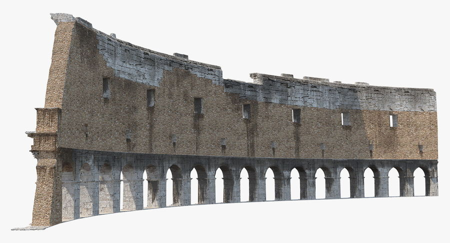 Ancient Wall with Arches 3D Model royalty-free 3d model - Preview no. 7