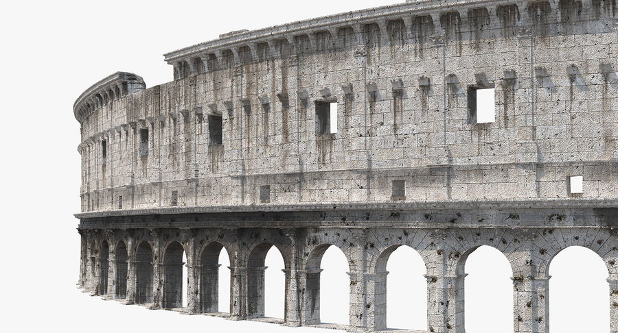 Ancient Wall with Arches 3D Model royalty-free 3d model - Preview no. 2