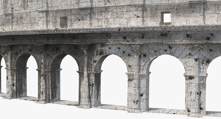 Ancient Wall with Arches 3D Model royalty-free 3d model - Preview no. 10
