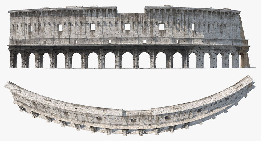 Ancient Wall with Arches 3D Model royalty-free 3d model - Preview no. 4