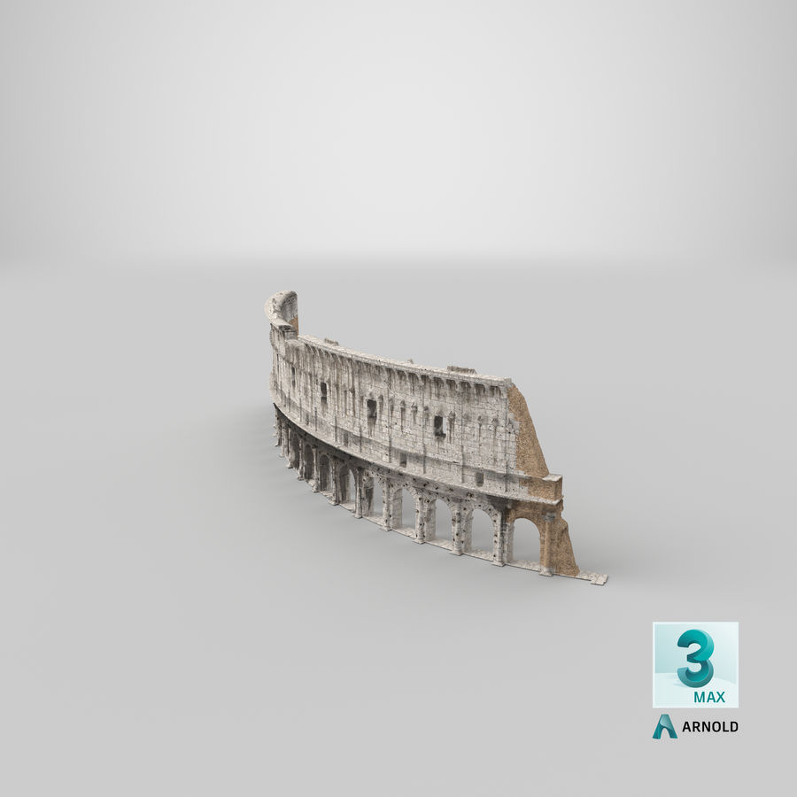 Ancient Wall with Arches 3D Model royalty-free 3d model - Preview no. 25