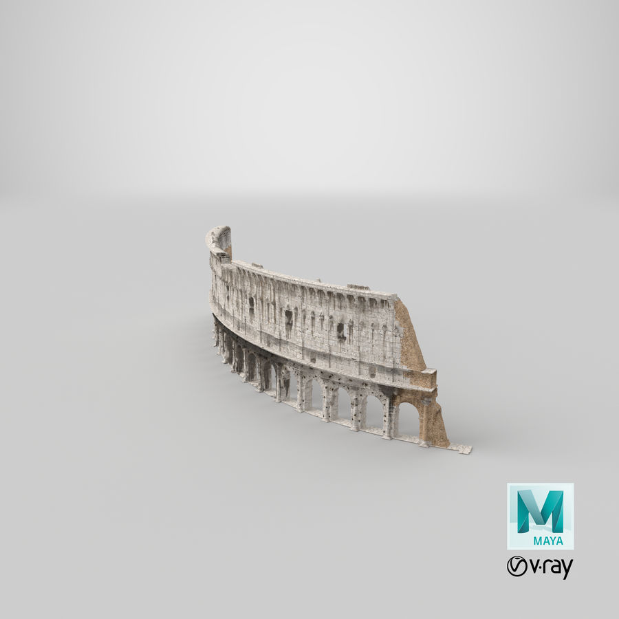 Ancient Wall with Arches 3D Model royalty-free 3d model - Preview no. 30
