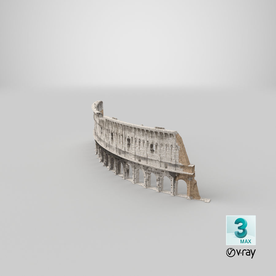 Ancient Wall with Arches 3D Model royalty-free 3d model - Preview no. 27