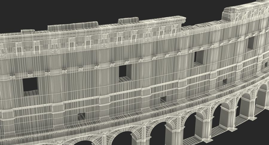 Ancient Wall with Arches 3D Model royalty-free 3d model - Preview no. 19