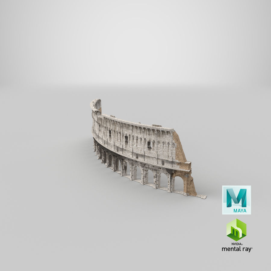 Ancient Wall with Arches 3D Model royalty-free 3d model - Preview no. 29