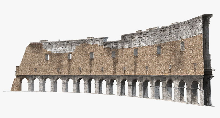 Ancient Wall with Arches 3D Model royalty-free 3d model - Preview no. 6