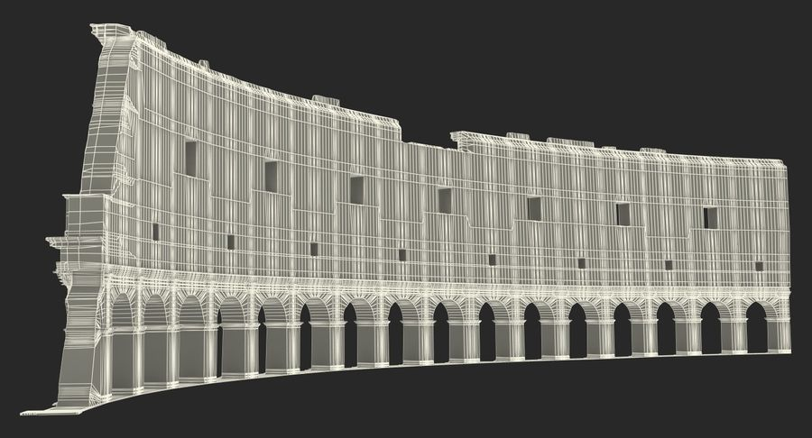 Ancient Wall with Arches 3D Model royalty-free 3d model - Preview no. 18