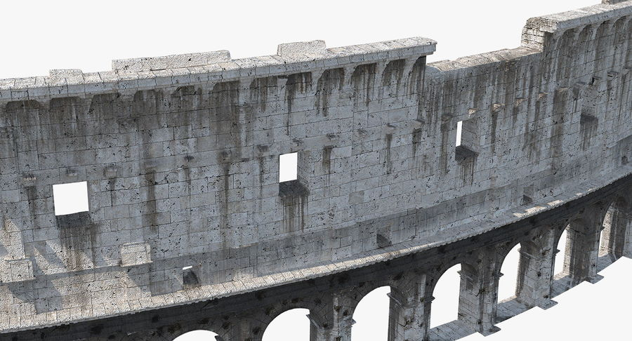 Ancient Wall with Arches 3D Model royalty-free 3d model - Preview no. 9