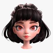 Testa di ragazza bruna dei cartoni animati 3d model