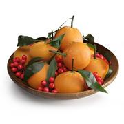 Мандарины и ягоды падуба 3d model