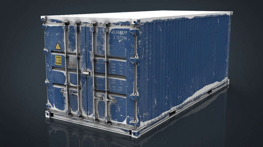 CONTAINER BLUE royalty-free 3d model - Preview no. 1