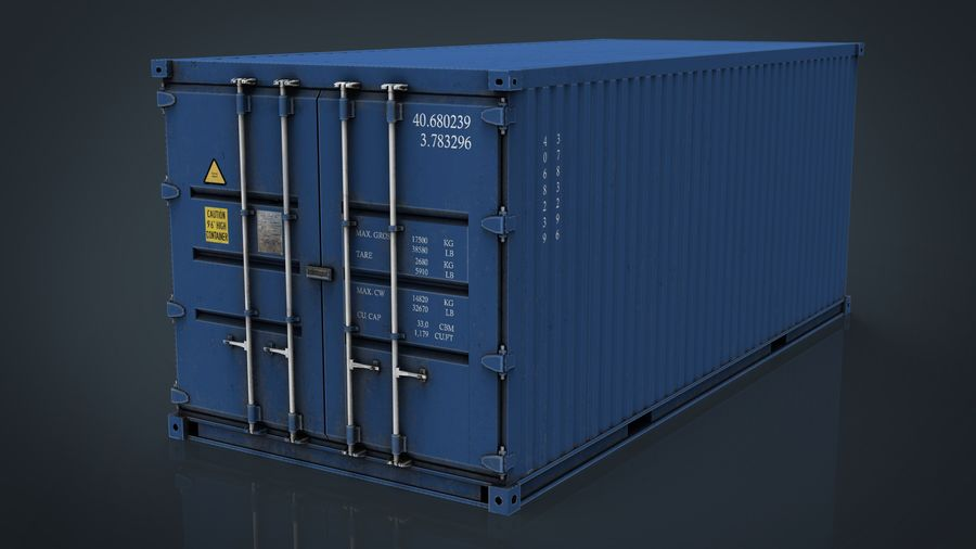 CONTAINER BLUE royalty-free 3d model - Preview no. 10