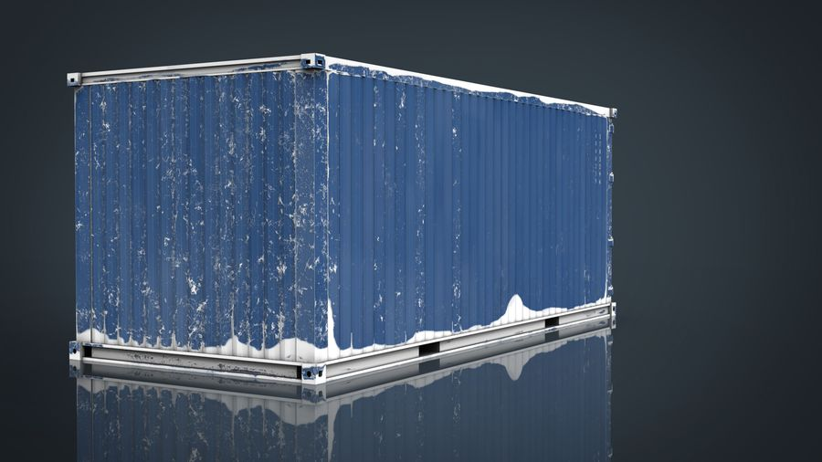 CONTAINER BLUE royalty-free 3d model - Preview no. 11