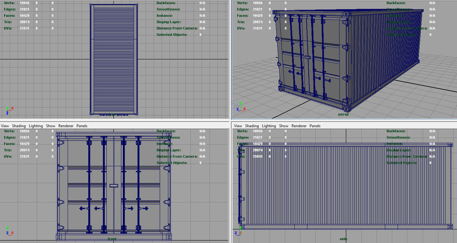 CONTAINER BLUE royalty-free 3d model - Preview no. 9