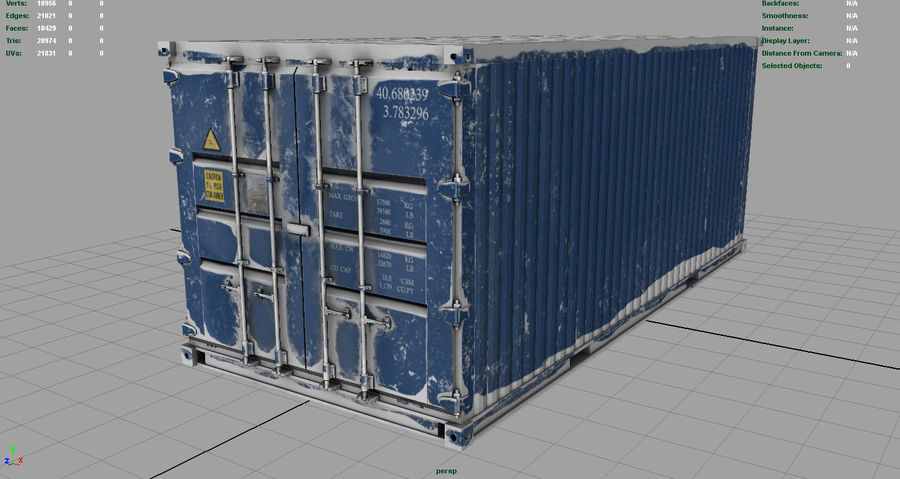 CONTAINER BLUE royalty-free 3d model - Preview no. 3